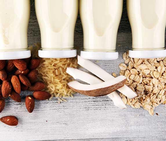 variety of plant-based milk